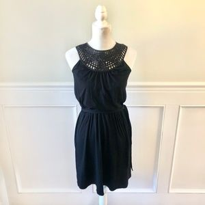 WHBM Black Dress Stretch Jersey Embroidered Yoke